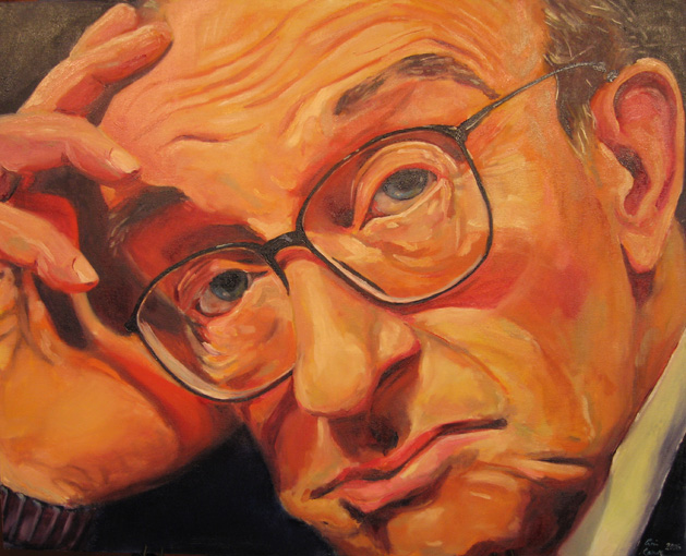 Erin Crowe's final portrait of Alan Greenspan was painted live on CNBC